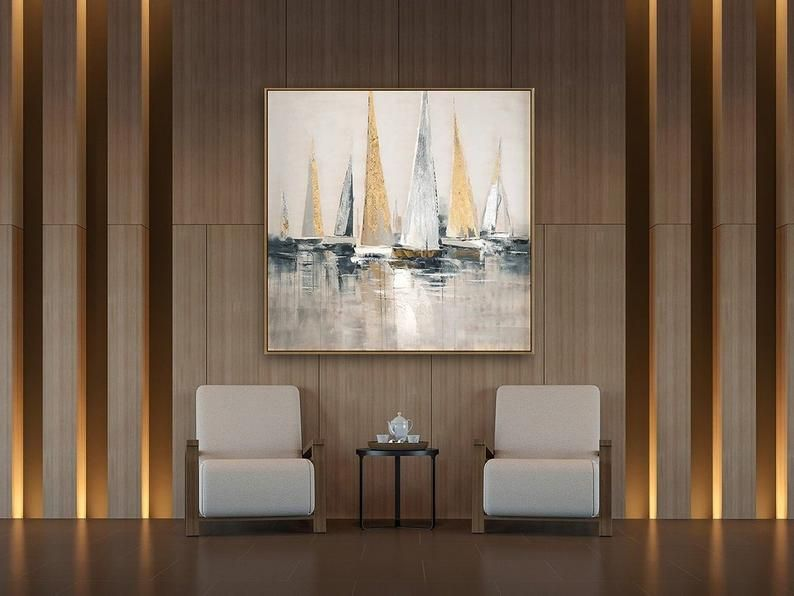 Large sailboat party oil painting, Original Sailboats gather in the harbor landscape to paint Artwork, Nautical oil painting art on Canvas